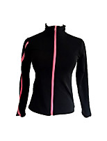cheap -Figure Skating Fleece Jacket Women's Girls' Ice Skating Jacket Black Spandex Practise Skating Wear Graphic Long Sleeves Ice Skating