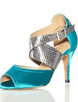 abordables -Latino Semicuero Zapatilla Recortado Tacón Stiletto Negro Almendra Azul Personalizables
