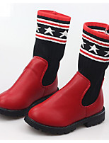 cheap -Girls' Shoes Knit PU Winter Fall Comfort Fashion Boots Boots Mid-Calf Boots for Casual Red Black