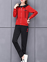 cheap -Women's Going out Simple Winter Set Pant Suits,Solid Hooded Long Sleeves Polyester