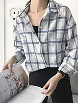 cheap -Women's Daily Casual Fall Shirt,Striped Shirt Collar Long Sleeve Polyester Medium