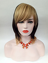 cheap -Women Synthetic Wig Middle Length Highlighted/Balayage Hair Black Blonde Straight Hair With Side Bangs Natural Wig.