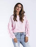 preiswerte -Damen Solide Freizeit Aktiv Street Schick Alltag Ausgehen T-shirt,Rundhalsausschnitt Winter Herbst Langärmelige Baumwolle Acryl Nylon