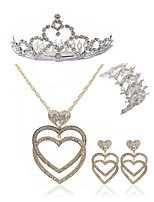 preiswerte -Damen Tiara Braut-Schmuck-Sets Strass Europäisch Modisch Hochzeit Party Diamantimitate Aleación Herz Körperschmuck 1 Halskette 1 Armreif