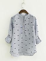 cheap -Women's Holiday Casual/Daily Active Winter Fall Shirt,Print Shirt Collar Long Sleeve Cotton Thin