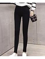 preiswerte -Damen Undurchsichtig Polyester Solide Einfarbig Legging,Schwarz