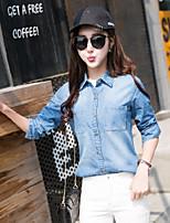 preiswerte -Damen Solide Street Schick Lässig/Alltäglich Hemd,Hemdkragen Langarm Andere