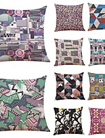 cheap -10 pcs Linen Pillow Cover,Geometric Art Deco Plaid/Check