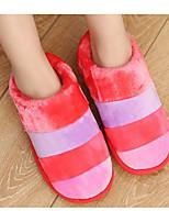 Недорогие -Для женщин Обувь Ткань Зима Осень Удобная обувь Тапочки и Шлепанцы Плоские для Повседневные Лиловый Коричневый Красный Розовый