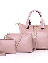 cheap -Women Bags PU Bag Set 3 Pcs Purse Set Zipper for Casual Outdoor Winter Fall Gray Blushing Pink Black Blue