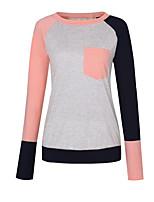 preiswerte -Damen Solide Einfarbig Street Schick Ausgehen T-shirt,Rundhalsausschnitt Langärmelige Polyester