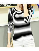 cheap -Women's Going out Street chic T-shirt,Striped Round Neck Long Sleeve Polyester