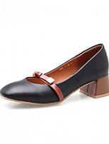 preiswerte -Damen Schuhe Kunstleder Frühling Herbst Komfort Neuheit High Heels Blockabsatz Quadratischer Zeh Schleife für Normal Kleid Schwarz Gelb