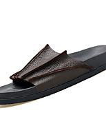 Недорогие -Муж. обувь Наппа Leather Кожа Весна Лето Удобная обувь Тапочки и Шлепанцы для Повседневные Белый Черный Коричневый