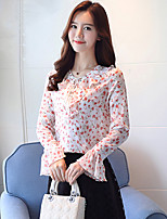 cheap -Women's Daily Casual Spring Fall Blouse,Floral V Neck Long Sleeve Polyester Opaque