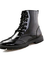 cheap -Men's Shoes Patent Leather Winter Combat Boots Boots Mid-Calf Boots for Casual Red Silver Black