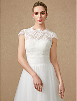 cheap -Short Sleeves Lace Tulle Wedding Party / Evening Women's Wrap With Applique Lace Shrugs