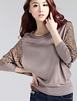 cheap -Women's Going out Simple Spring Fall T-shirt,Color Block Round Neck Long Sleeve Polyester