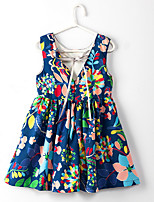 cheap -Girl's Daily Floral Print Dress,Cotton Summer Sleeveless Cute Boho Navy Blue