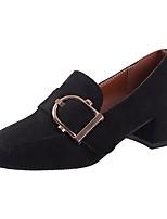 Недорогие -Для женщин Обувь Кашемир Весна Удобная обувь Обувь на каблуках На толстом каблуке Квадратный носок для Повседневные Черный Бежевый Хаки