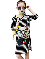 cheap -Girl's Daily Going out Striped Dress, Cotton Summer 3/4 Length Sleeves Simple Cute Active Black Gray