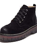 Недорогие -Для женщин Обувь Полиуретан Зима Осень Удобная обувь Ботинки На низком каблуке Круглый носок Закрытый мыс Ботинки для Повседневные Черный