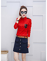 cheap -Women's Casual/Daily Street chic Shirt,Check Stand Long Sleeves Polyester