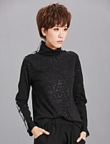 cheap -Women's Holiday Vintage All Seasons T-shirt,Letter Turtleneck Long Sleeve Polyester