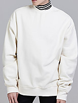 cheap -Men's Plus Size Casual/Daily Street chic Hoodie & Sweatshirt Solid Round Neck Without Lining Inelastic Cotton Long Sleeve Winter Fall