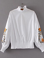 cheap -Women's Daily Cute Blouse,Print Turtleneck Long Sleeve Polyester