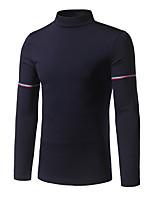 preiswerte -Herren Standard Pullover-Alltag Freizeit Solide Rundhalsausschnitt Langarm Polyester Wollmischung Winter Undurchsichtig Mikro-elastisch