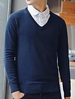 Недорогие -Муж. Однотонный Пуловер, На выход Длинный рукав V-образный вырез Полиэстер Зима Осень