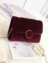 cheap -Women's Bags PU Suede Shoulder Bag Buttons for Casual All Seasons Red Black Green Blue