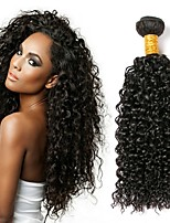 cheap -Natural Color Hair Weaves Kinky Curly Hair Extensions 1pc 1 piece Peruvian Natural Black Human Hair Weaves 0.1
