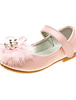 cheap -Girls' Shoes PU Spring Fall Comfort Novelty Flower Girl Shoes Flats Rhinestone Feather Applique Magic Tape for Wedding Party & Evening