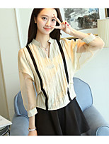 cheap -Women's Daily Cute Blouse,Solid Round Neck Long Sleeve Cotton Acrylic
