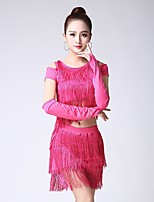 cheap -Latin Dance Outfits Women's Performance Milk Fiber Tassel Short Sleeves Dropped Skirts Top