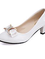 Недорогие -Жен. Обувь Полиуретан Лакированная кожа Весна Осень Удобная обувь Обувь на каблуках На толстом каблуке для Повседневные Белый Черный