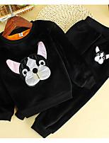 cheap -Girls' Daily Animal Print Clothing Set, Cotton Winter Long Sleeves Black Blushing Pink