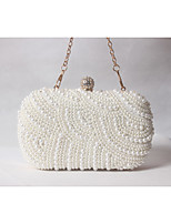 cheap -Women Bags Satin Evening Bag Beading Pearl Detailing for Wedding Event/Party All Season Beige