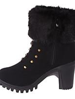 Недорогие -Для женщин Обувь Полиуретан Зима Осень Удобная обувь Ботинки На толстом каблуке Закрытый мыс Сапоги до середины икры для Повседневные