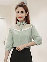 cheap -Women's Casual/Daily Street chic Shirt,Solid Shirt Collar 3/4 Length Sleeve Cotton Linen