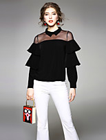 cheap -EWUS Women's Party/Cocktail Going out Sexy Street chic Spring Summer BlouseSolid Shirt Collar Long Sleeve Polyester Medium