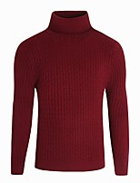 cheap -Men's Pullover - Solid Color Turtleneck