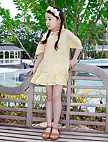 cheap -Girls' Daily Solid Clothing Set, Cotton Bamboo Fiber Spandex Spring Half Sleeves Casual White Yellow