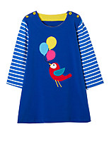 cheap -Girl's Daily Striped Patchwork Dress,Cotton Spring Fall Long Sleeves Cute Casual Cartoon Blue