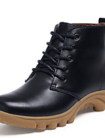 Недорогие -Для женщин Обувь Натуральная кожа Зима Осень В ковбойском стиле Зимние сапоги Армейские ботинки Ботинки Плоские Круглый носок Ботинки для