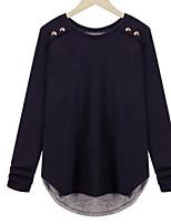 Недорогие -Для женщин Повседневные Весна Осень Блуза Круглый вырез,На каждый день Однотонный Длинные рукава,Хлопок