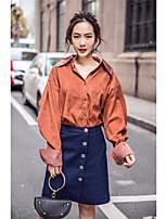 Недорогие -Для женщин На каждый день Рубашка Рубашечный воротник,Уличный стиль Однотонный Длинный рукав,Хлопок