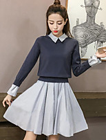 cheap -Women's Going out Simple Winter Fall Sweater Skirt Suits,Color Block Square Long Sleeve Cotton